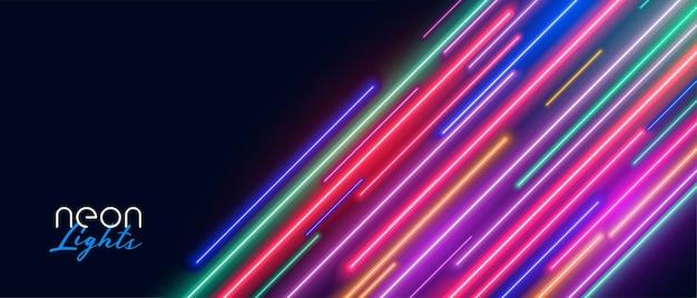 Rayas de neón de luz led muestran fondo