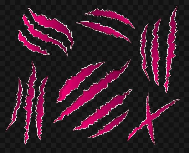 Rayas rosas sobre fondo transparente - - moderno conjunto de iconos vectoriales. quince marcas de garras de animales salvajes, de diferentes formas. cicatrices de tigre, oso, león. concepto de peligro, ataque, halloween