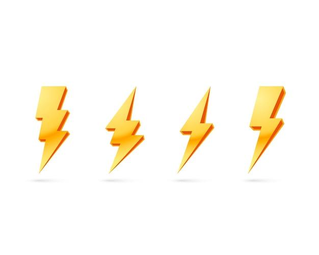 Rayo eléctrico, conjunto de iconos en una pared blanca.
