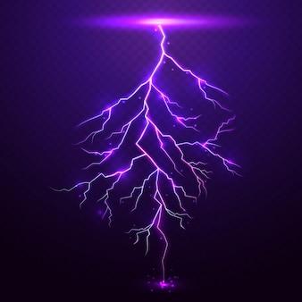 Rayo de trueno púrpura con transparencia para el diseño
