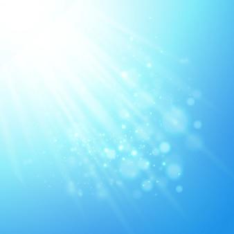 Rayos azules de luz. vector bokeh fondo borroso