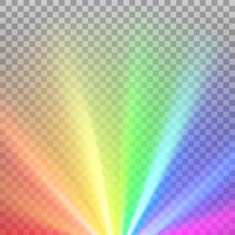 Rayos de colores del arco iris con destellos de espectro de color