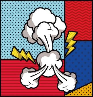 Rayos y humo pop art estilo ilustración vectorial