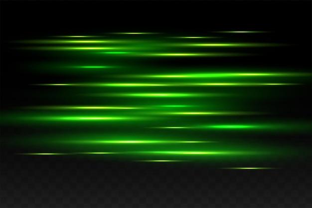 Rayos láser y flash verde abstracto
