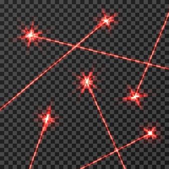 Rayos láser rojo vector efecto de luz aislado