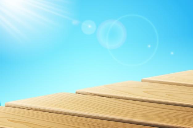 Rayos de luz solar cerca del muelle de madera