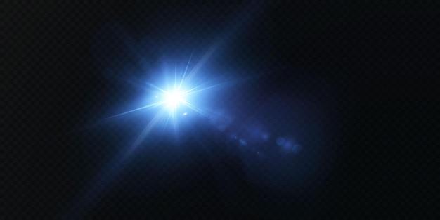Rayos de neón láser rayos azul claro horizontales