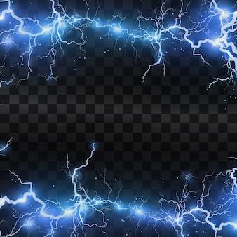 Rayos realistas sobre un fondo negro transparente, la carga de energía es potente, acumulación de carga azul eléctrica