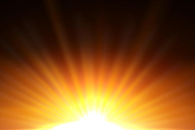Rayos de sol amarillo con llamarada naranja cálida