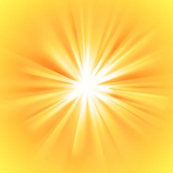 Rayos de sol amarillos con llamarada naranja
