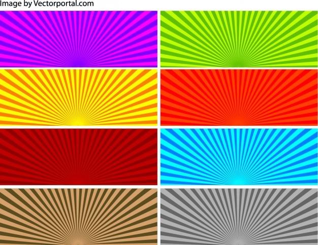 Rayos de sol de colores conjunto de fondos