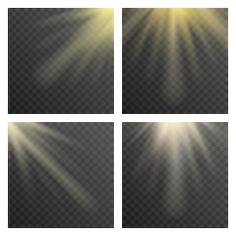 Rayos de sol o rayos de sol sobre fondo transparente a cuadros.