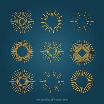Rayos de sol de oro en estilo retro