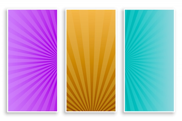 Rayos de sunburst conjunto de banners vacíos