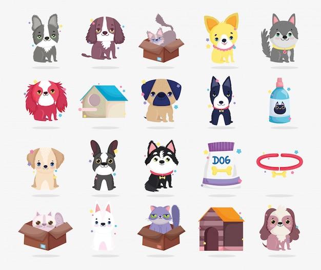 Razas pequeñas perros gatos collar animal doméstico de dibujos animados, colección mascotas
