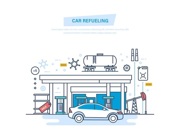 Reabastecimiento de combustible con gasolina en la estación de servicio delgada línea