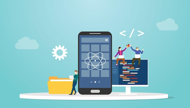 Reaccionar el concepto de desarrollo de aplicaciones móviles nativas con una ilustración vectorial de estilo plano moderno