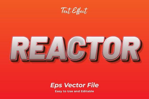 Reactor de efectos de texto editable y fácil de usar vector premium