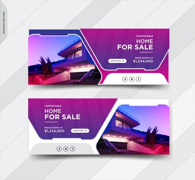 Real estate facebook cover social media post banners