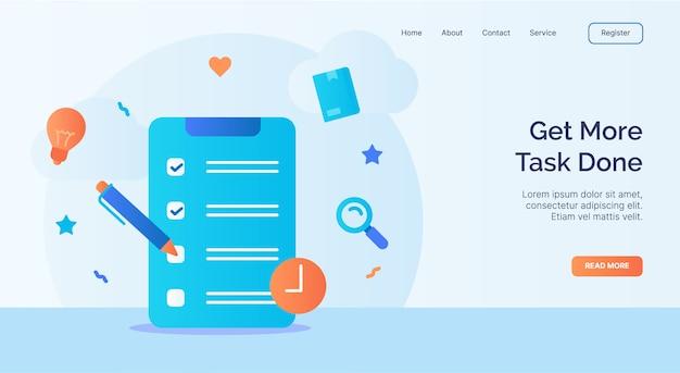 Realice más tareas con la campaña del icono de la lista de verificación del portapapeles para la plantilla de inicio de la página de inicio del sitio web con estilo de dibujos animados.