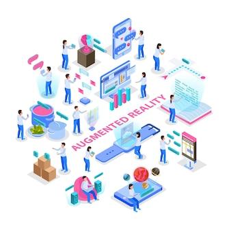Realidad aumentada comunicación interactiva visualización de información científica educativa pantalla de computadora virtual composición isométrica