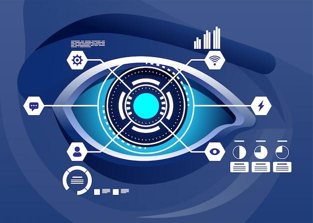 Realidad aumentada y futuro concepto de tecnología biotech. holograma futurista sobre ojo mirando gráficos virtuales. ilustración