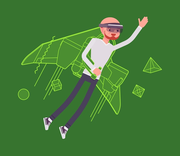 Realidad aumentada hombre jetpack volando