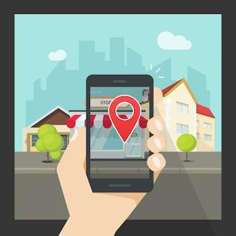 Realidad aumentada en el teléfono móvil o en la ubicación virtual navegación de teléfonos inteligentes con dibujos animados planos