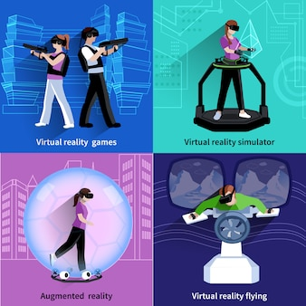 Realidad aumentada virtual 4 iconos cuadrados