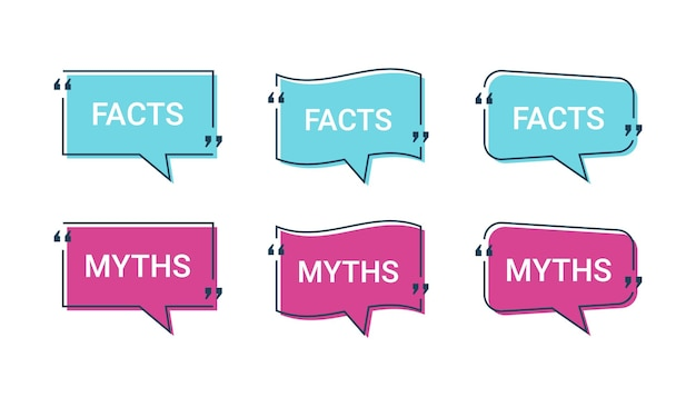 Realidad y mito en las burbujas del discurso. ilustración vectorial.