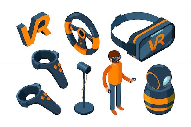 Realidad virtual 3d. vr juego casco futurista y gafas digitales de aumento auriculares isométricos