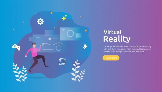 Realidad virtual aumentada con personajes de personas que tocan la interfaz de realidad virtual y usan juegos de gafas.