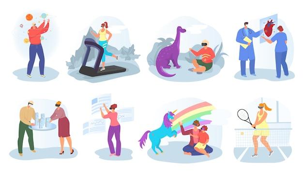 Realidad virtual, concepto de vr, conjunto de ilustraciones. jóvenes con gafas de realidad aumentada para jugar y simular vr. entretenimiento visual 3d, equipamiento, innovación de vídeo.