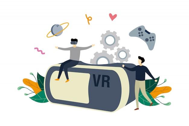 Realidad virtual, gafas de realidad aumentada para juegos de ilustración plana con gente pequeña