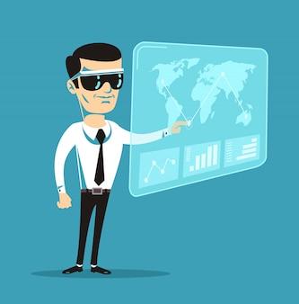Realidad virtual. ilustración de dibujos animados plano de vector