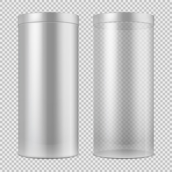 Realista 3d frasco de vidrio transparente vacío y una lata blanca con tapa. paquete para comida, galletas y regalos aislados