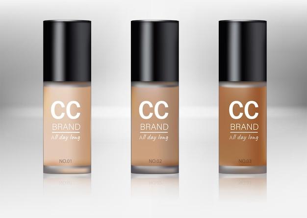 Realista 3d plantilla vacía bb cream package set producto de belleza maquillaje tono beige para una cara