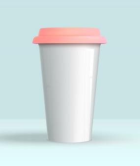 Realista 3d taza de café blanco maqueta
