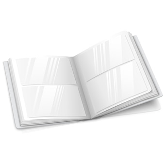 Realista aislado en blanco álbum de fotos abierto vector en blanco