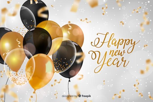 Realista año nuevo 2020 con globos