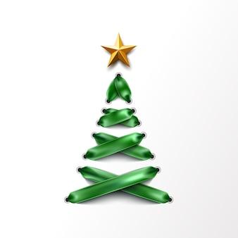 Realista árbol de navidad con cordones hecho de cordones verdes