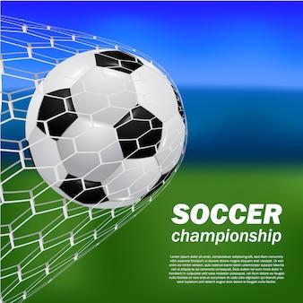 Realista balón fútbol fútbol tiro gol en la puerta neta con campo de desenfoque bokeh