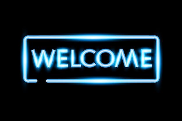 Realista bienvenida letrero de neón.