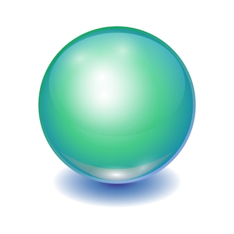 Realista bola multicolor verde, esfera brillante con parche.