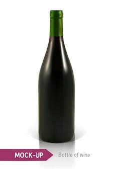 Realista botella de vino blanco sobre un fondo blanco con reflejo y sombra. plantilla para etiqueta de vino.