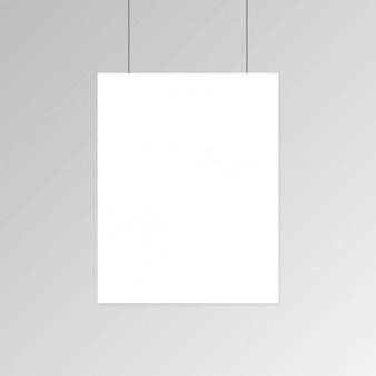 Realista cartel de papel blanco en blanco colgado en la pared