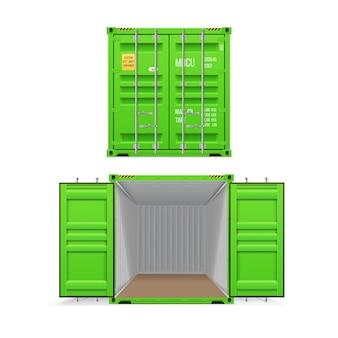 Realista conjunto de contenedores de carga verde brillante. abierto y cerrado. entrega, transporte, transporte flete de envío.