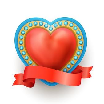 Realista corazón sagrado rojo