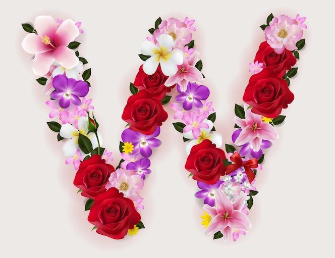 Realista de hermosa fuente de flores.