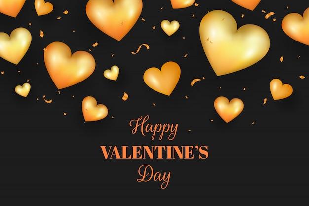 Realista día de san valentín dorado, forma de corazón dorado y confeti.